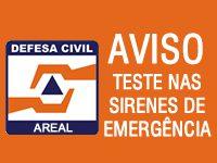 Defesa Civil de Areal realizará teste nas Sirenes de Emergência dia 15/10